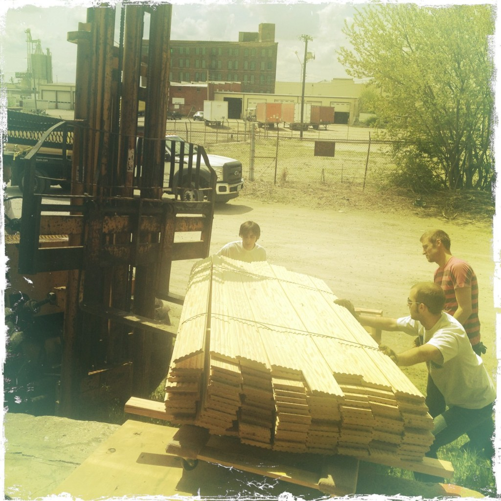 Now its time to get back to work - lumber delivery....hardwood floors that we are not ready for yet....